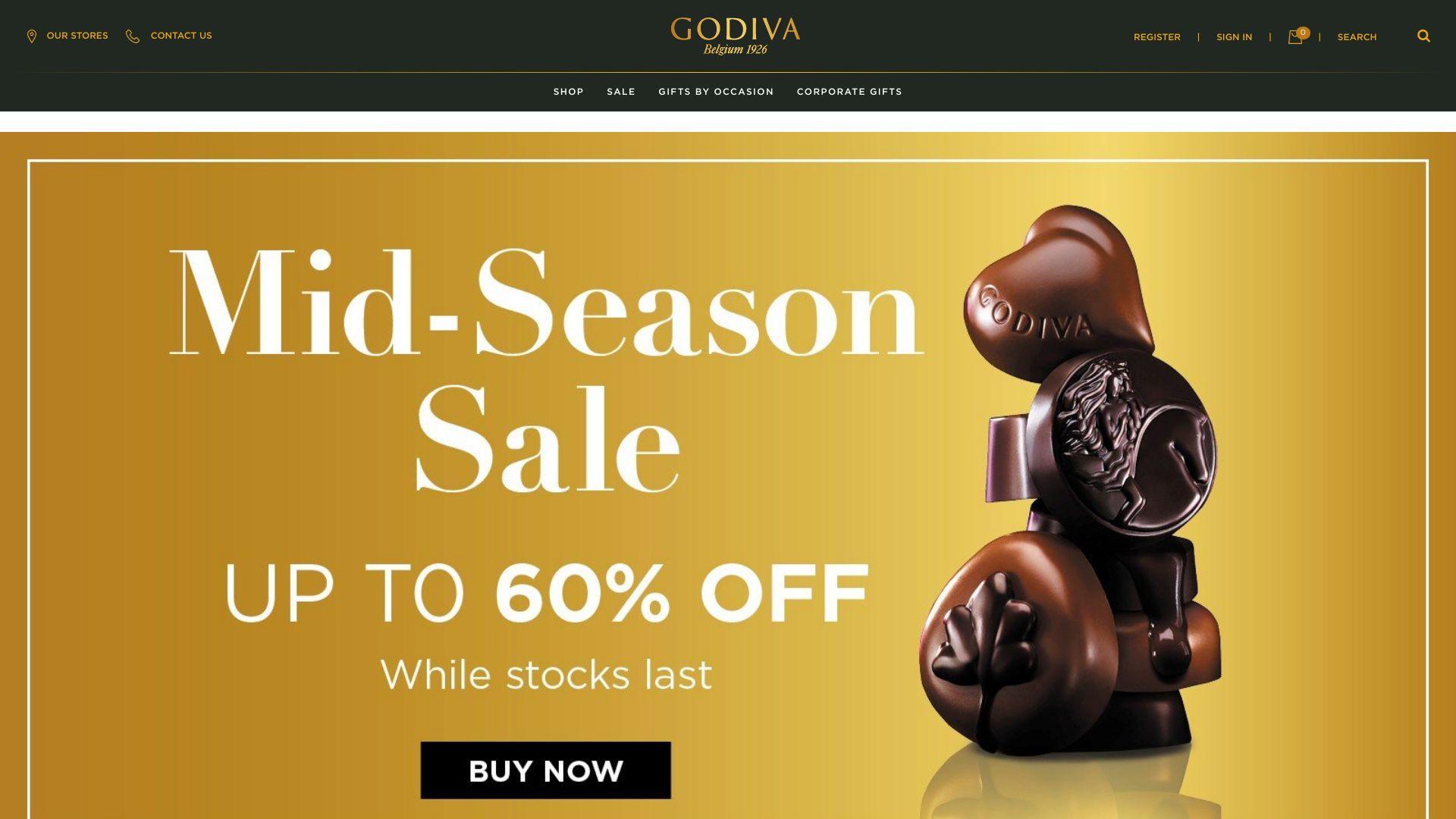 Godiva Chocolates screenshot